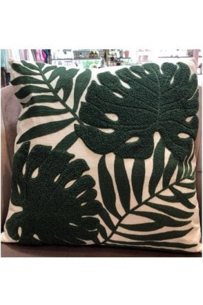 Textured Leaf Print Cushion