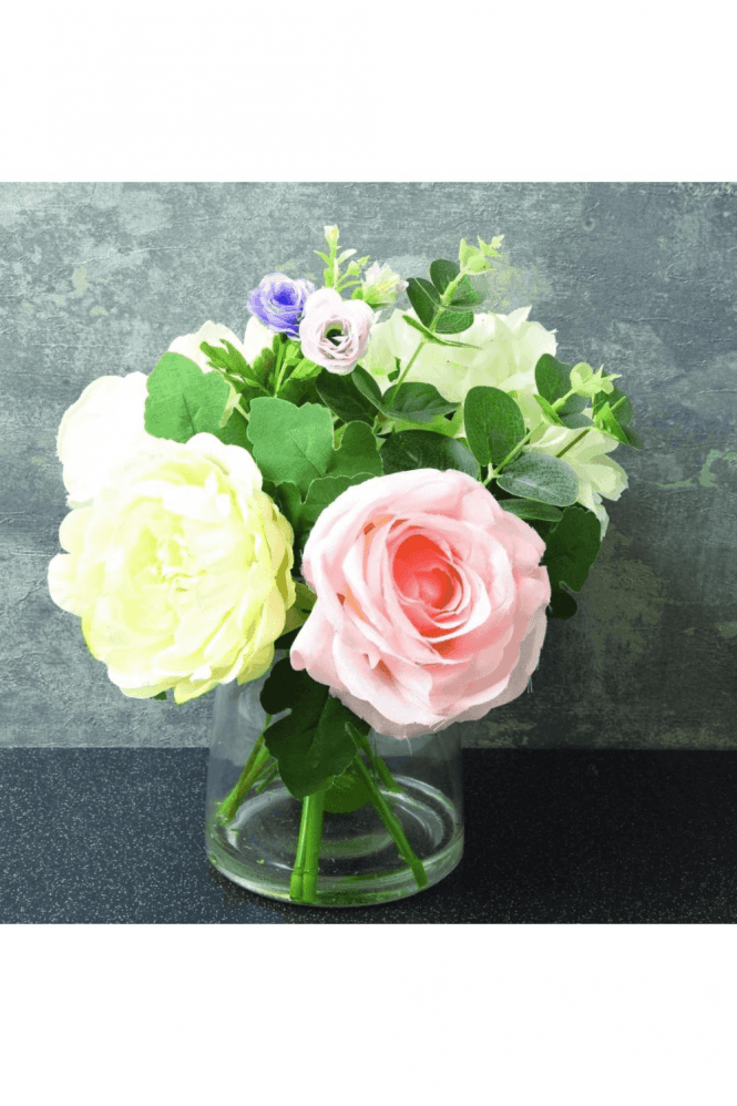 The Flower Patch Large Roses Cream & Dusky Pink in Glass Vase 30cm