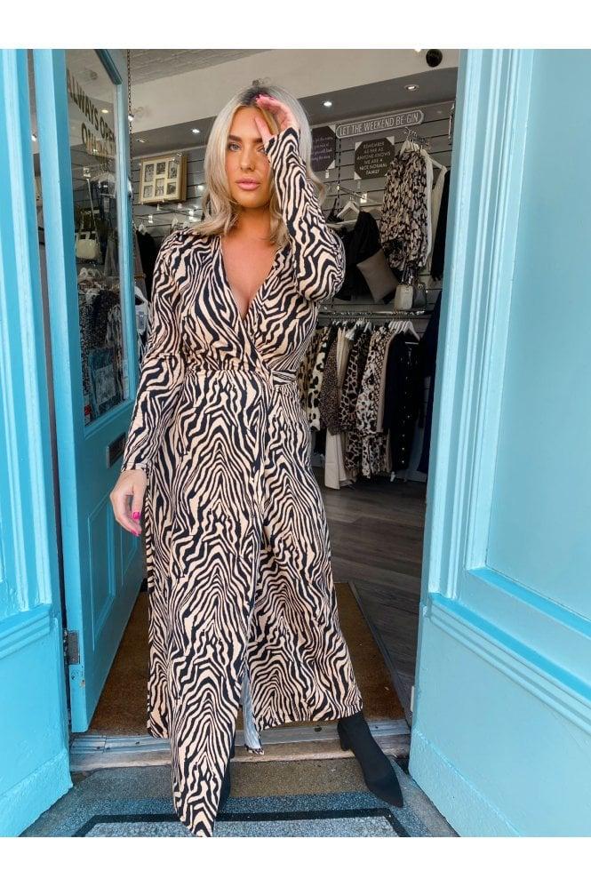 Tia Zebra Wrap Dress Maxi