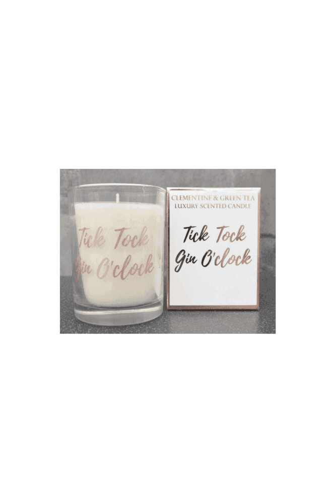 Tick Tock Gin O'Clock Wax Filled Pot Candle in Gift Box Clementine and Green Tea Scent 220g