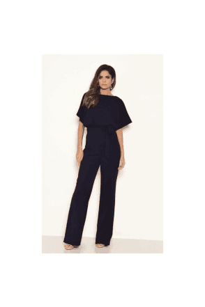Tie Waist Navy Jumpersuit