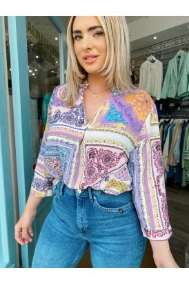 Tori Print Top Purple