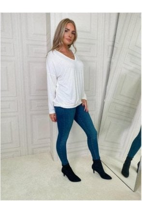 V-neck Long Sleeve Top Cream