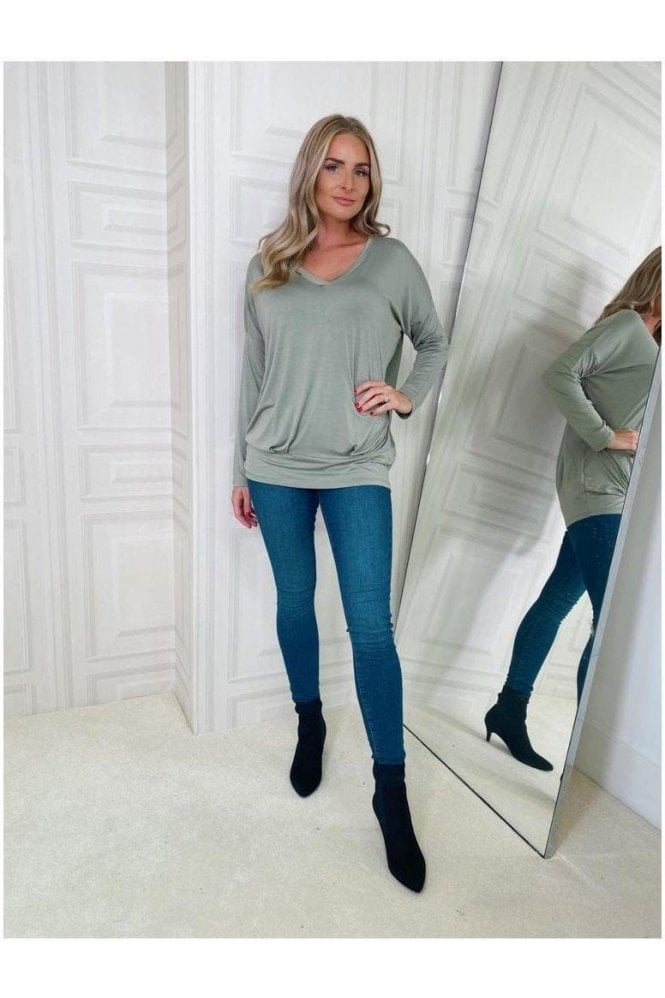 V-neck Long Sleeve Top Khaki