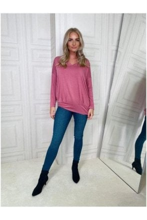 V-neck Long Sleeve Top Pink