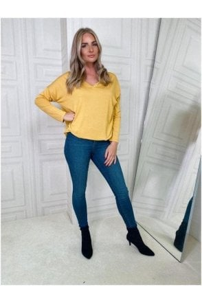 V-neck Long Sleeve Top Yellow