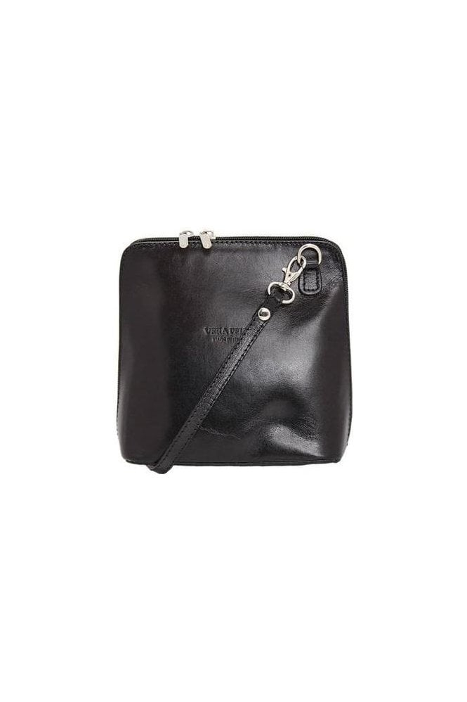 Vera Crossbody Leather Bag - Black