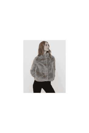 GREY SHORT FAUX FUR JACKET