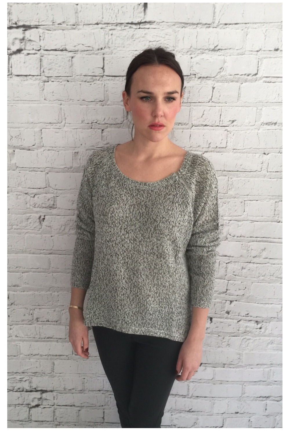 Vero Moda Knitting Yarns : Vero moda open knit jumper with zip detail grey marl