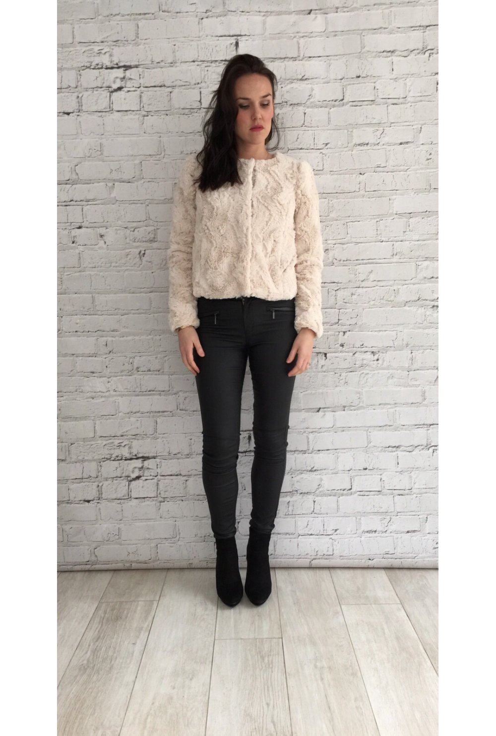 Vero Moda Soft Blush Short Faux Fur Jacket - Vero Moda from Ruby ...