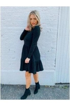 Rib Tiered Dress Black
